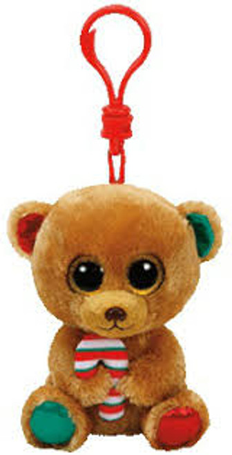 BEANIE BOOS CLIP ONS XMAS BROWN BEAR WITH SUGAR CANE 2017
