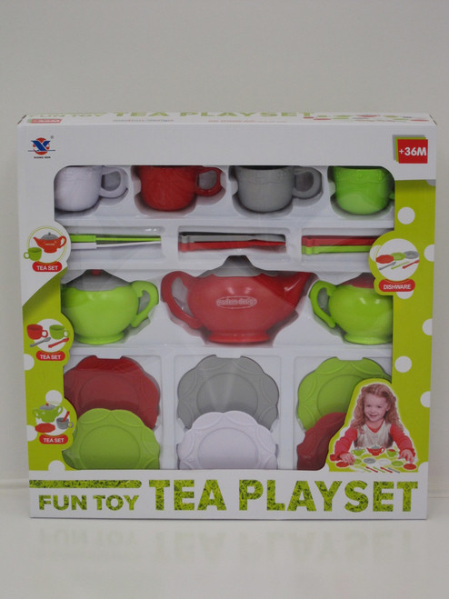 TEA PARTY 4 PERSON TEA SET - RED/GREEN