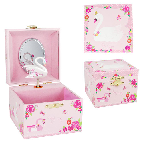 SWAN PRINCESS SMALL MUSIC BOX - PINK