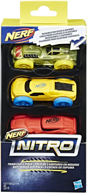 NERF NITRO FOAM CAR 3 PACK - CAMO/YELLOW/RED