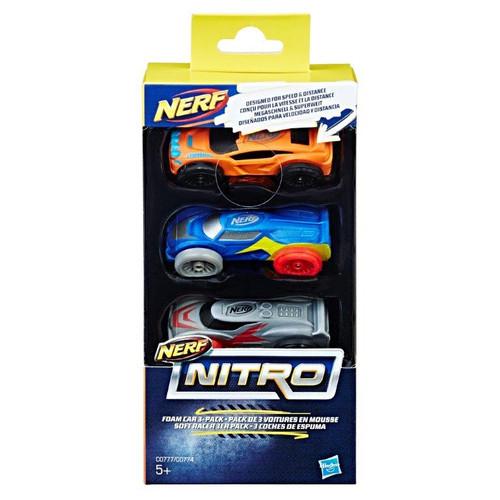 NERF NITRO FOAM CAR 3 PACK ORANGE/BLUE/SILVER