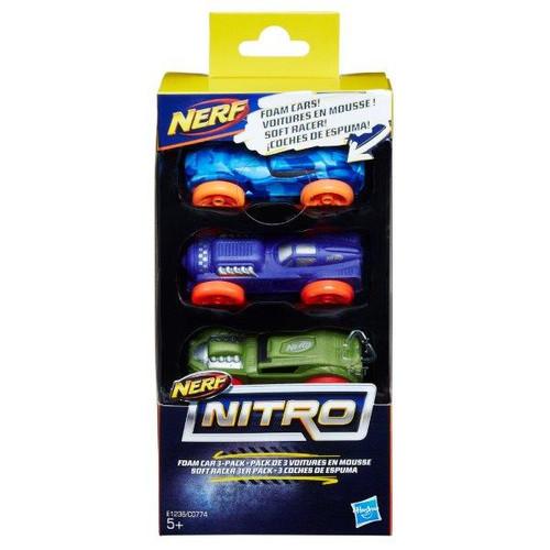 NERF NITRO FOAM CAR 3 PACK BLUE/RED/ORANGE