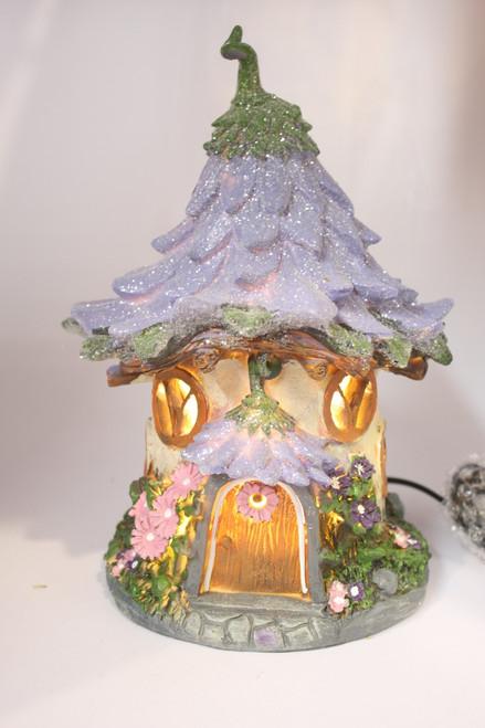 FAIRY HOUSE NIGHT LIGHT - PURPLE FLOWER