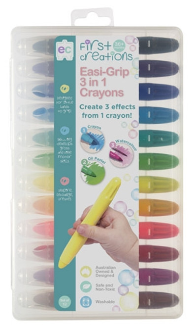 EASI-GRIP 3 IN 1 CRAYON SET OF 12