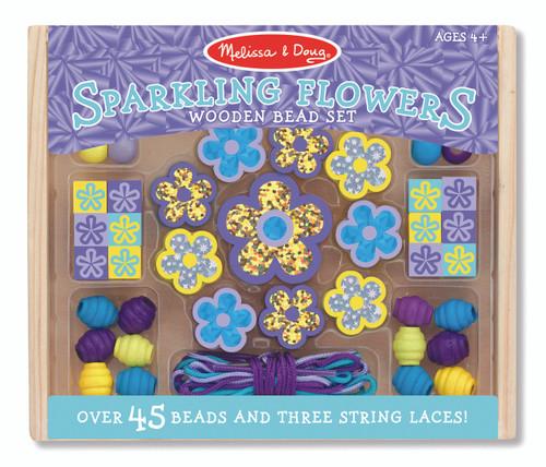 M&D - WOODEN SPARKLING FLOWERS BEAD SET