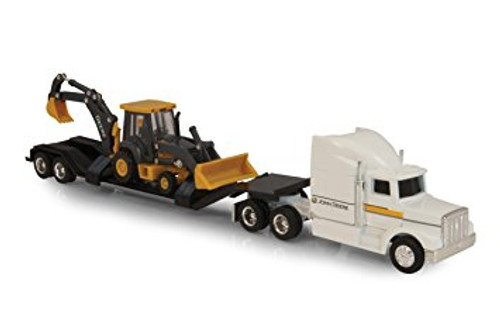 1:64 SCALE SEMI WITH JD LOADER BACKHOE