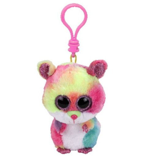 BEANIE BOOS CLIP ONS - RODNEY THE COLOURED HAMSTER