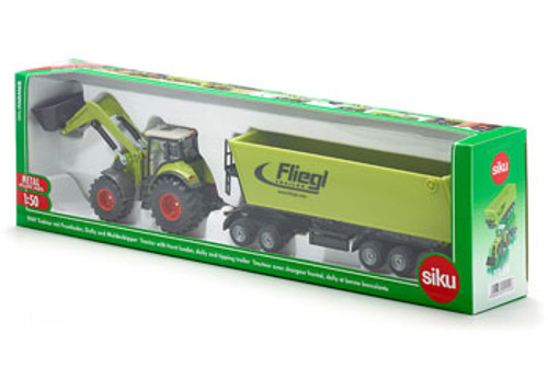 SIKU - TRACTOR FRONTLOADER DOLLY TIPPING TRAILER 1:50