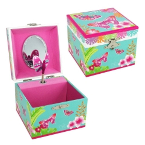 TROPICAL BUTTERFLY SMALL MUSIC BOX - BLUE