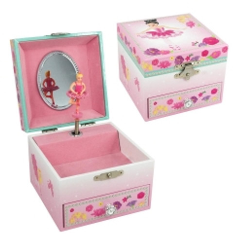 BALLERINA BOUQUET SMALL MUSIC BOX - PALE PINK