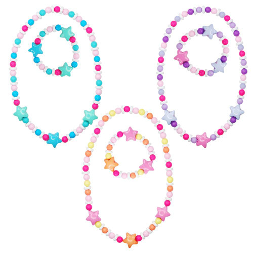 MATT BEAD STAR NECKLACE & BRACELET SET