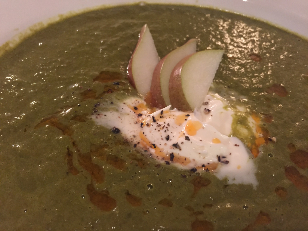 Kale & Pear Soup with Bacon Sous Vide