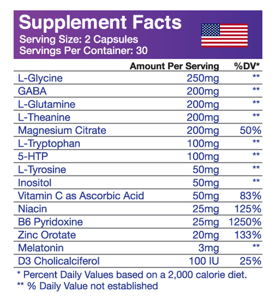 L-Glycine, GABA, L-Glutamine, L-Theanine, Magnesium Citrate, L-Tryptophan, 5-HTP, L-Tyrosine, Inositol, Vitamin C as Ascorbic Acid, Niacin, B6 Pyridoxine, Zinc Orotate, Melatonin, D3 Cholicalciferol, Rice Flour Filler.