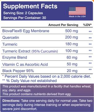 Biova Flex® Egg Membrane, Quercetin, Turmeric, Curcumin, Enzyme Blend, Vitamin C, Black Pepper