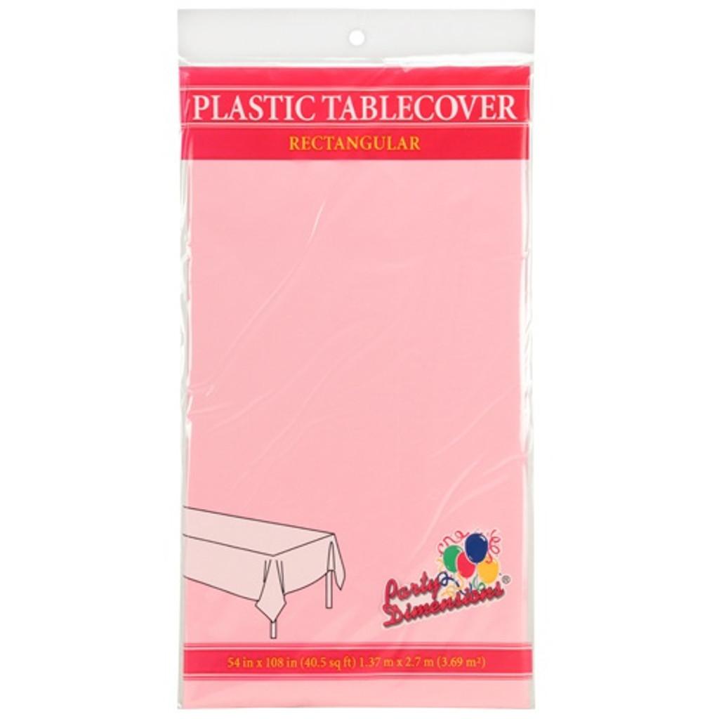 "54"" X 108"" Light Pink Rectangular Plastic Tablecover Case of 48"