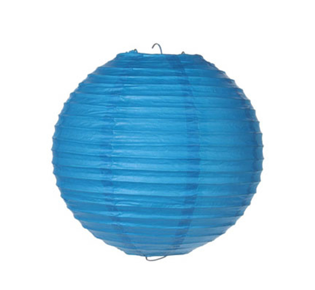 Parallel Ribbed 8-Inch Round Paper Lantern Blue