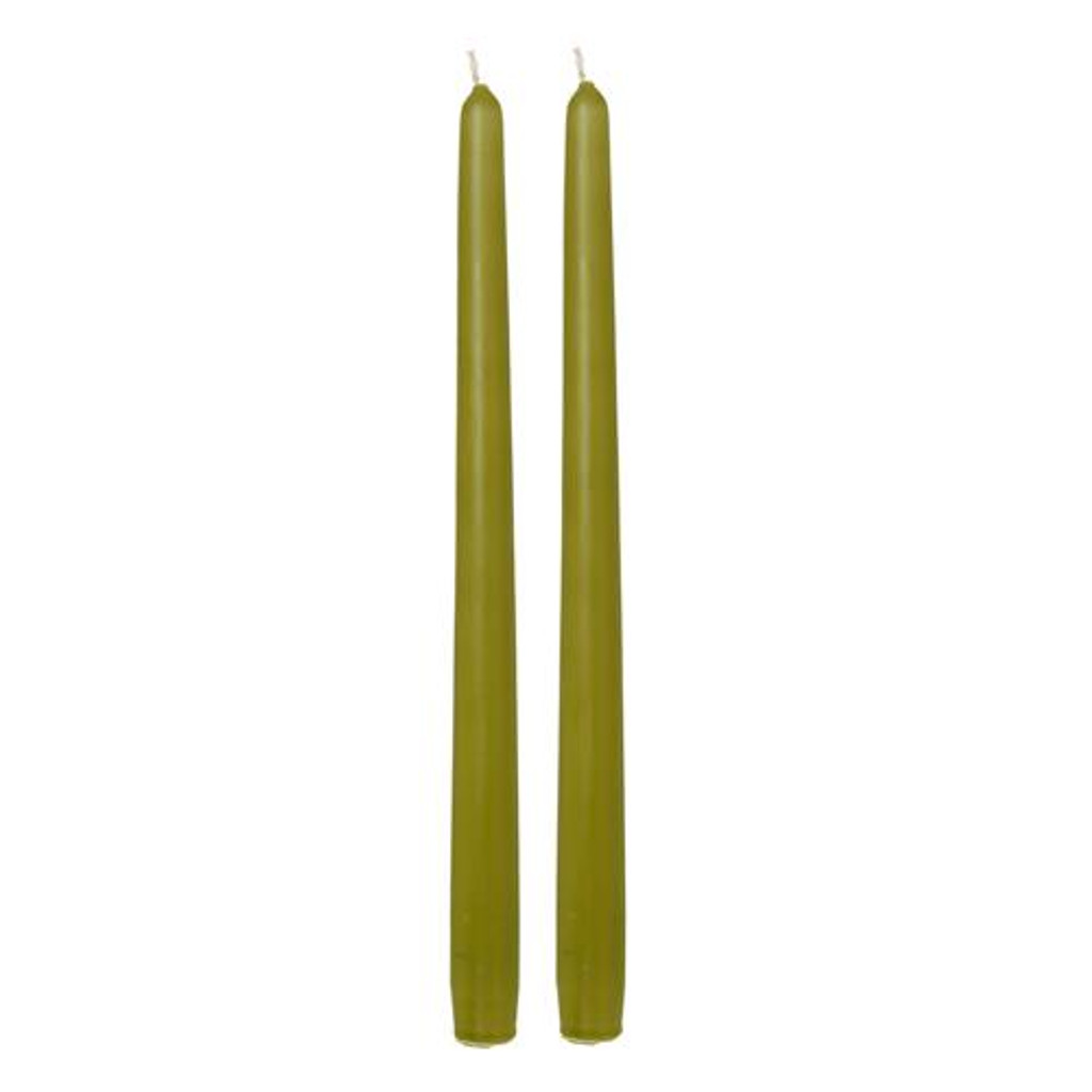 12 Inch Wax Taper Candles - Bamboo Green - 2 Pack Unscented