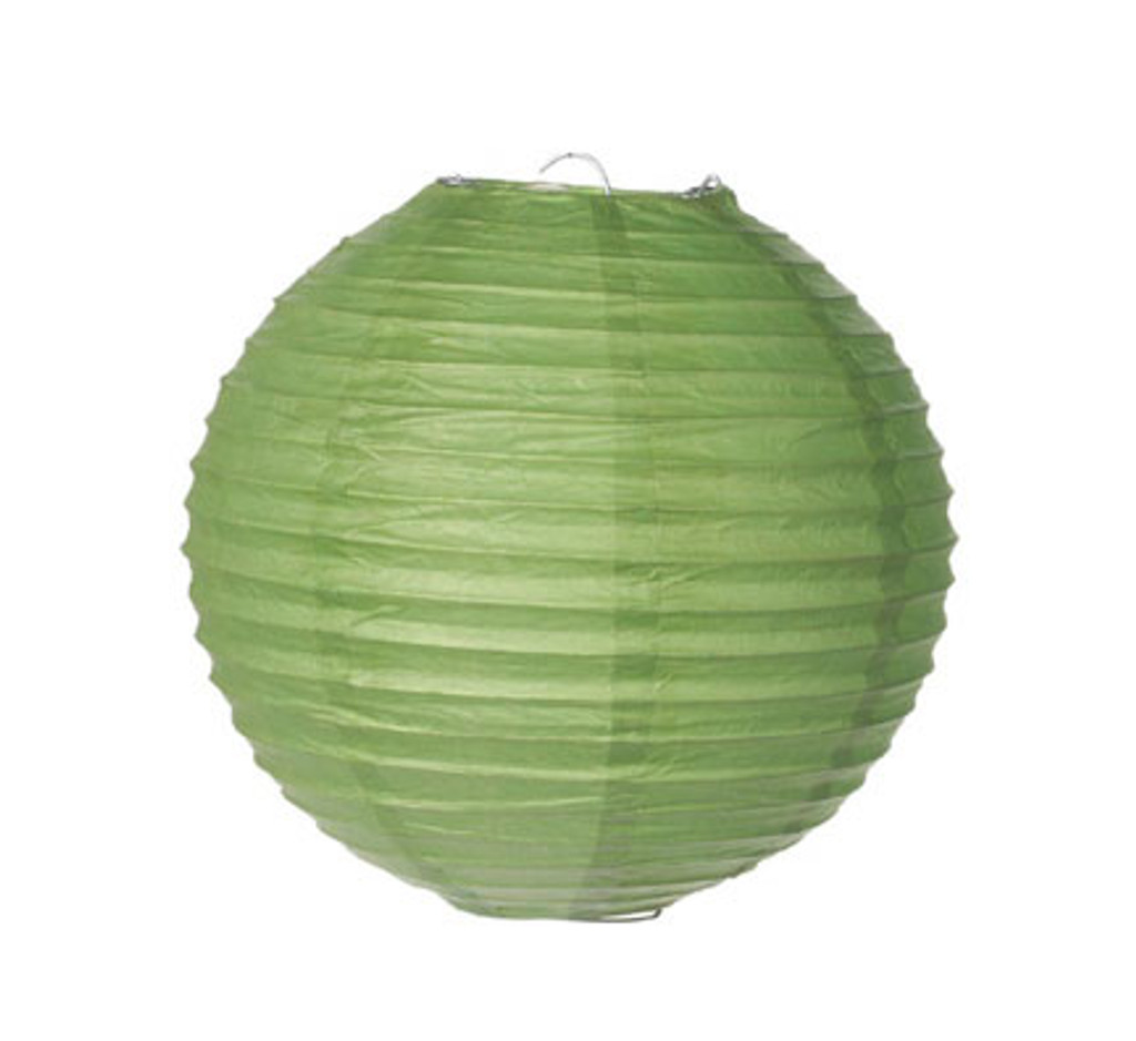 Parallel Ribbed 8-Inch Round Paper Lantern Green