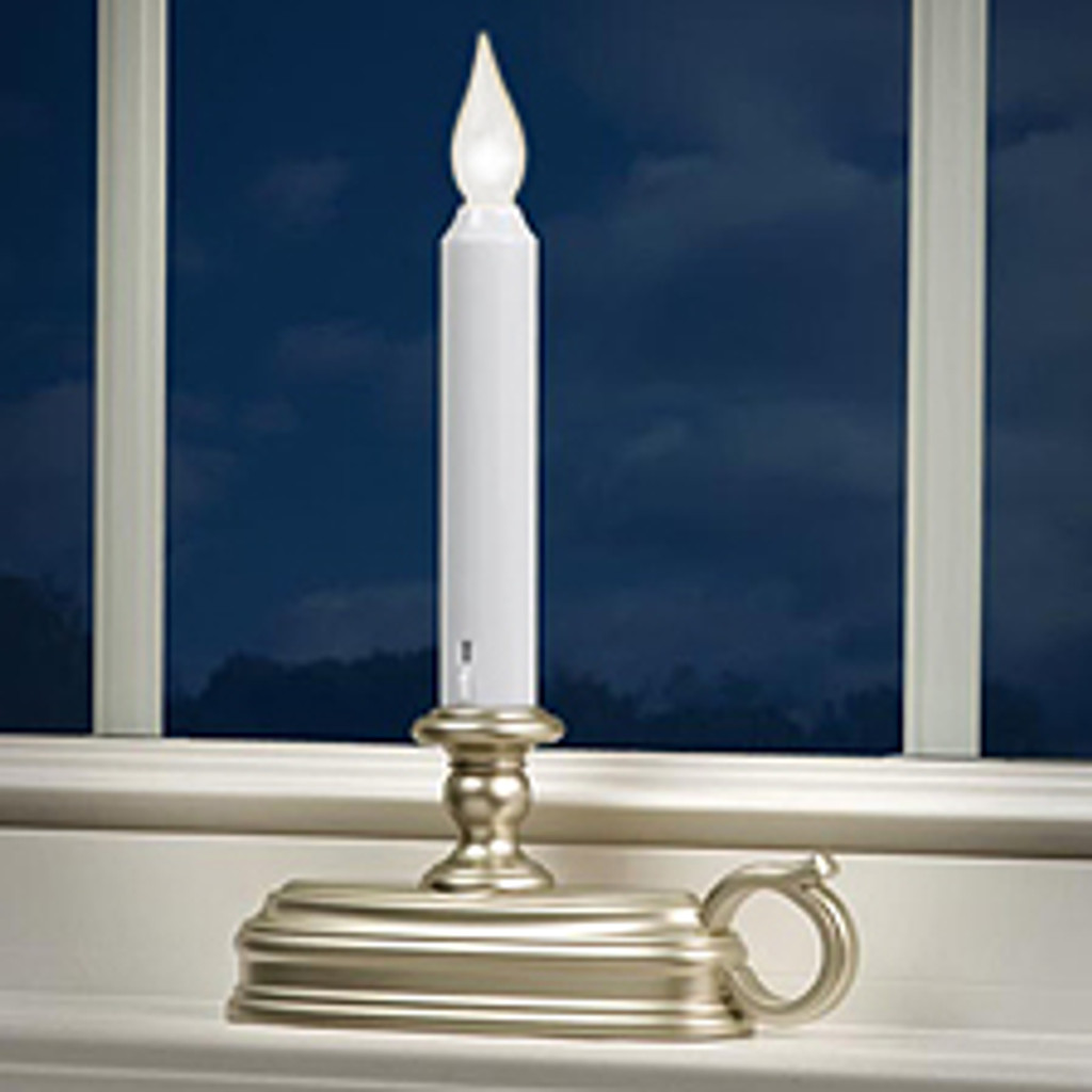 Deluxe Warm White Battery Operated LED Candle Pewter