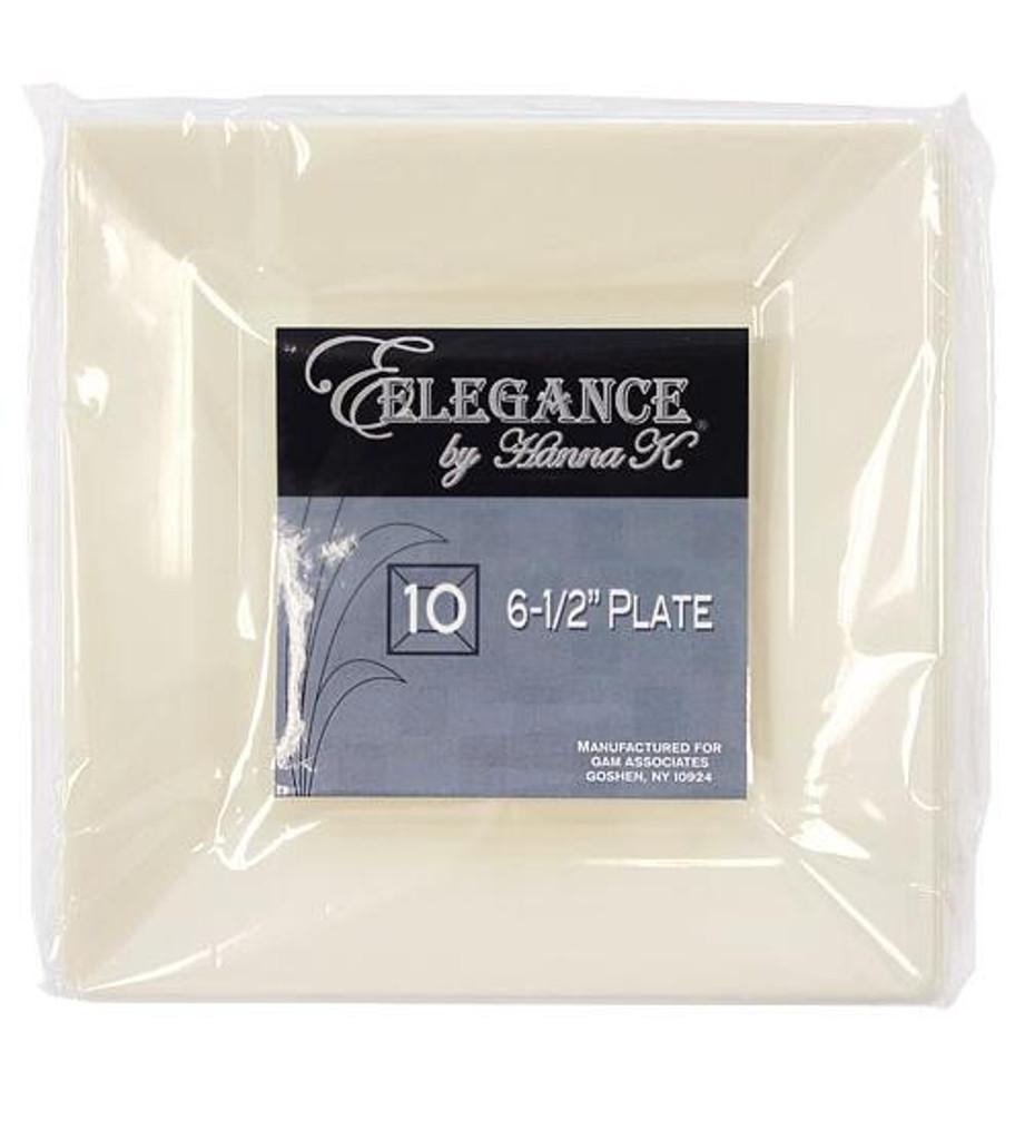 Plastic Squares 6.5-inch Cream Plates - 10ct.