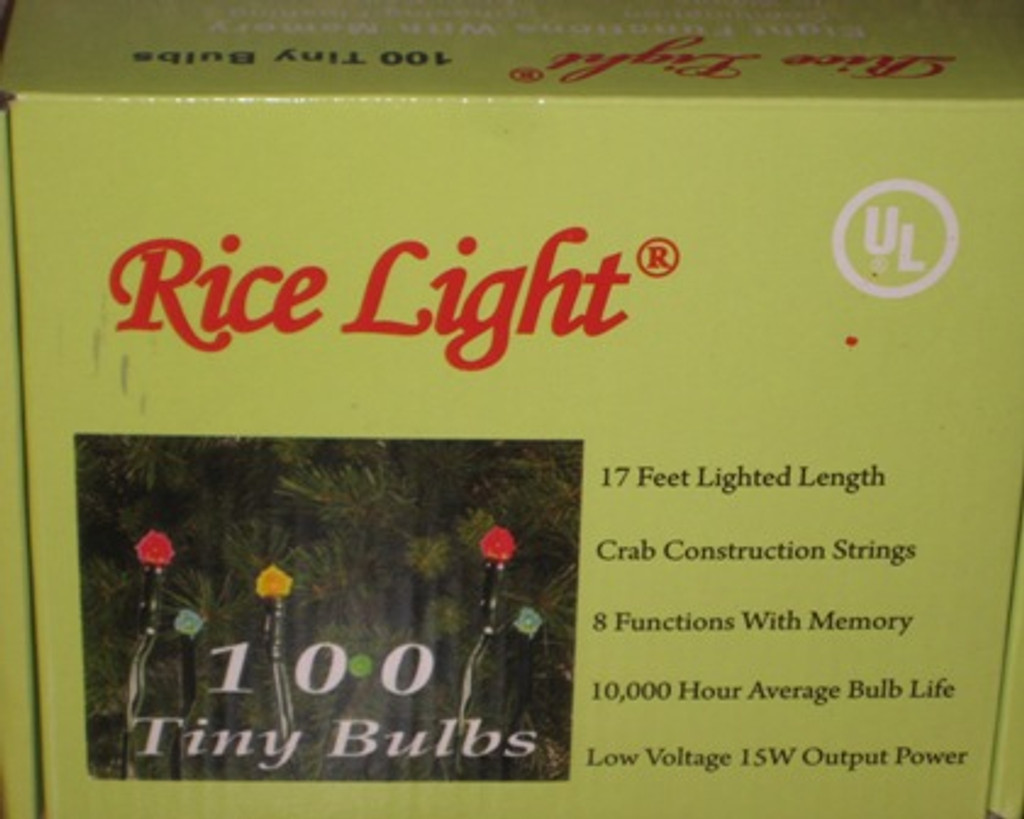 100 Multi Color Rice Lights on 17' Green Wire, 8 Function Plug In