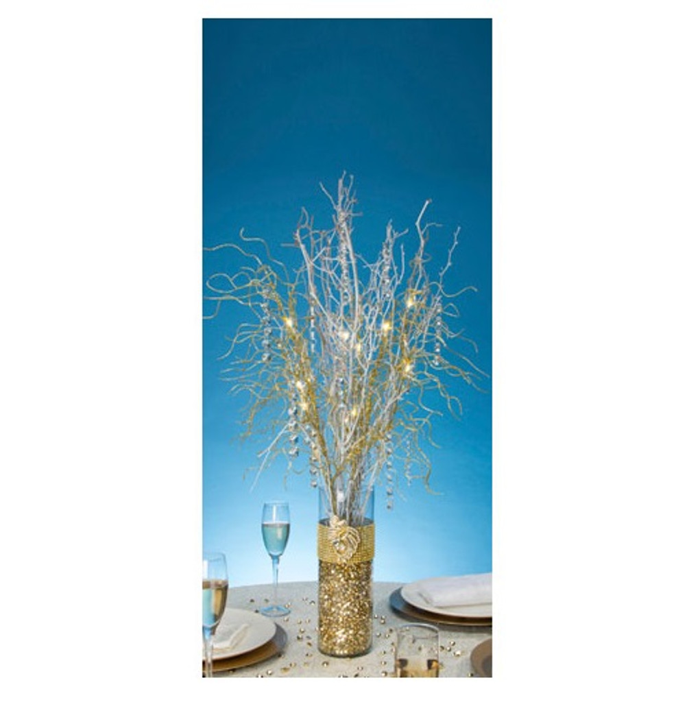 David Tutera Lighted Branch Spray - Gold - 30 inches - Battery Operated