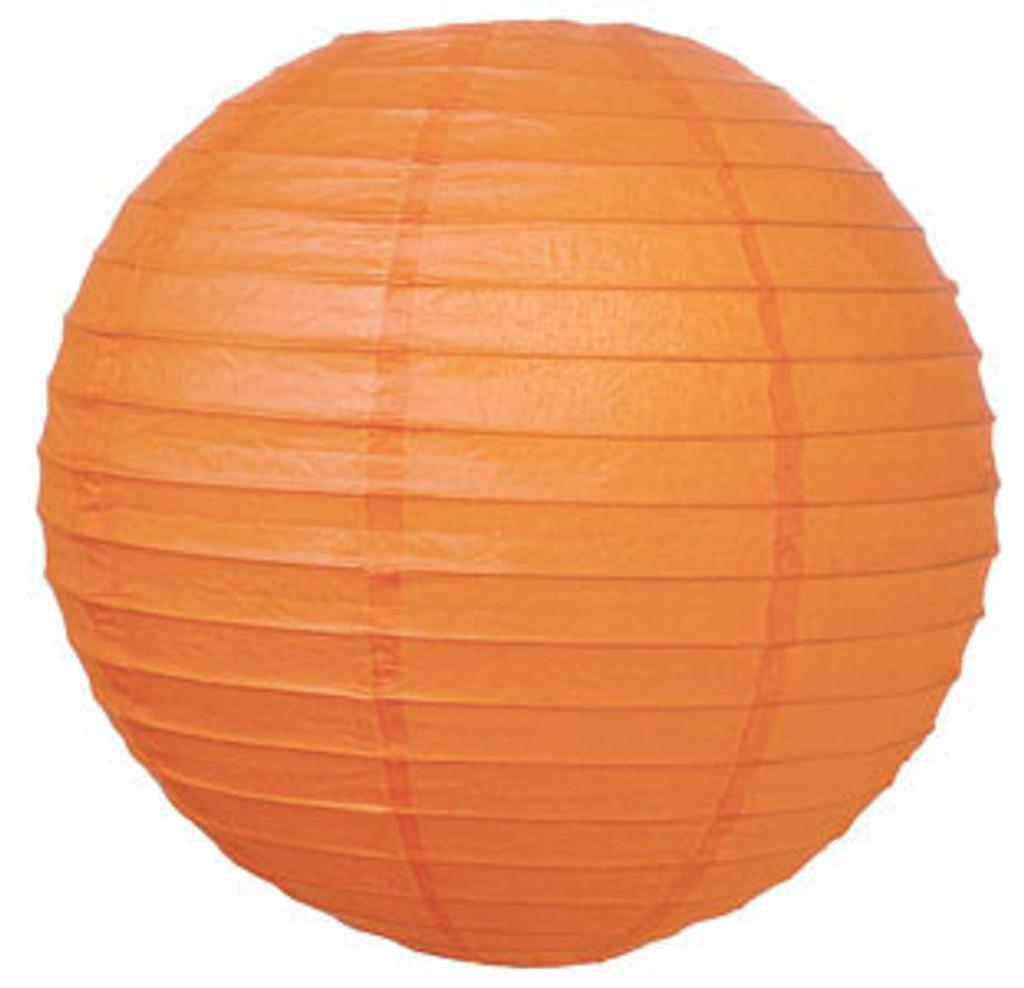 Parallel Ribbed Mango 12-Inch Round Paper Lantern