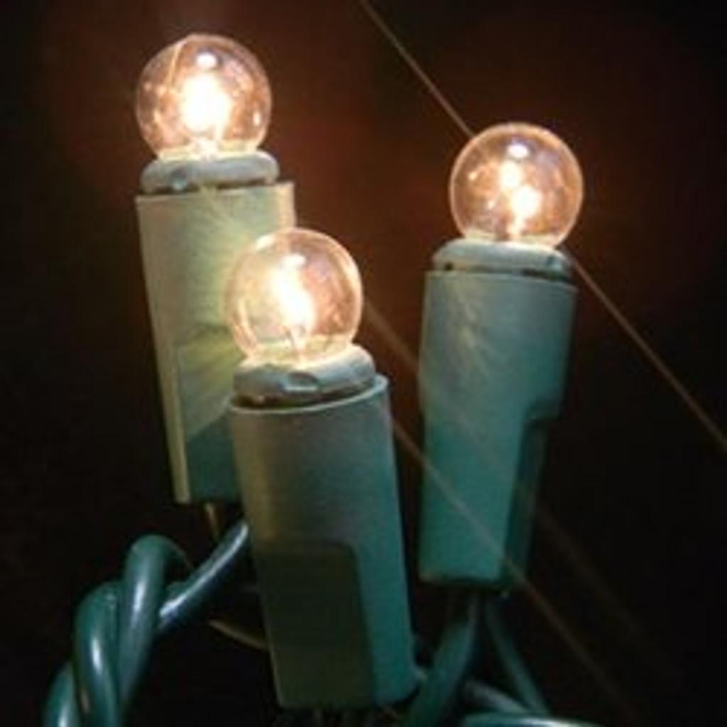 50 Light Mini Globe Bulbs Green Wire / Clear Bulbs