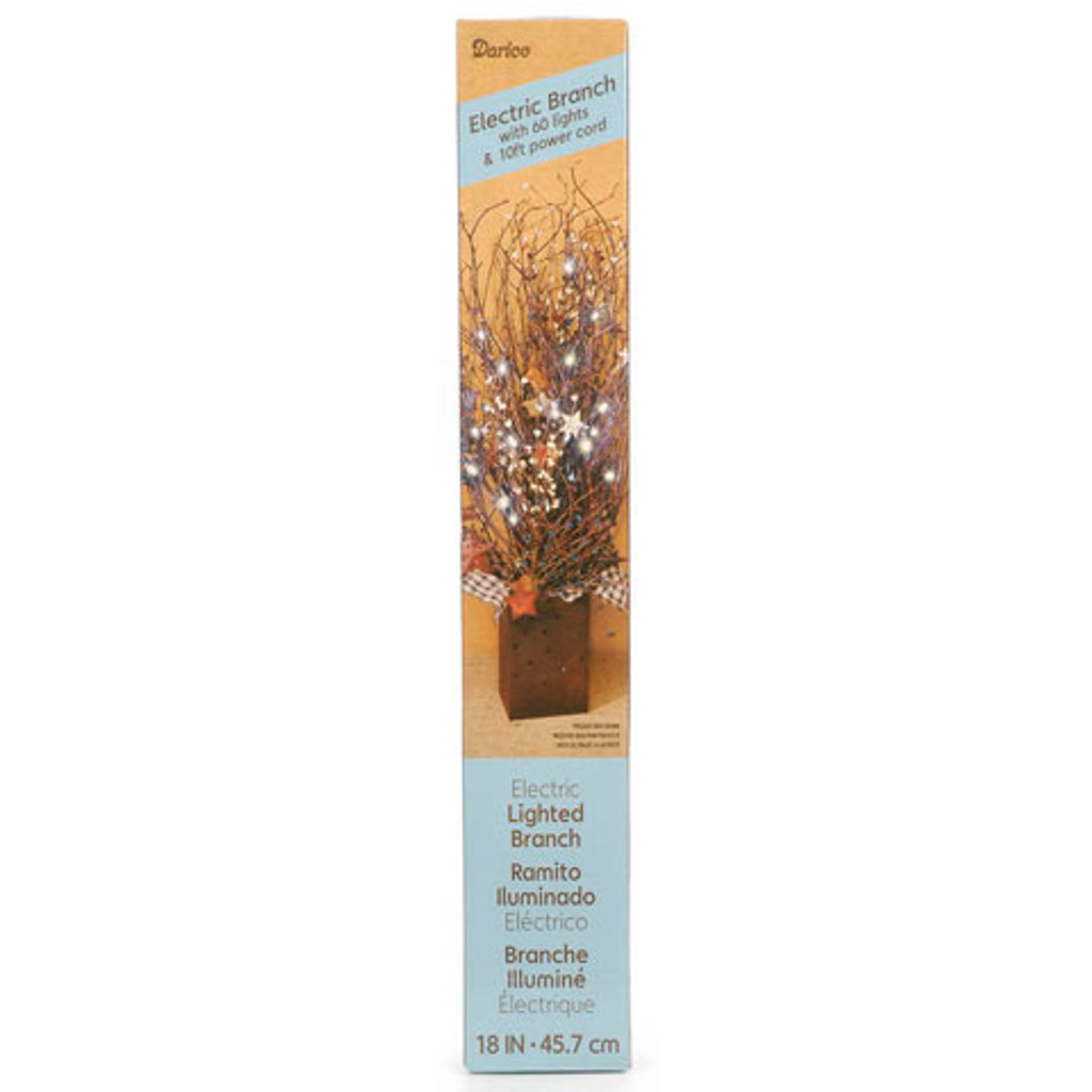 """18"""" Brown Lighted Branches - 60 Clear Rice Bulbs - Plug In"""