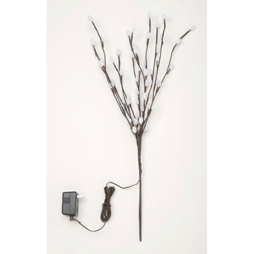 Lighted Fuzzy Pussy Willow Branches-Electric-28 inches