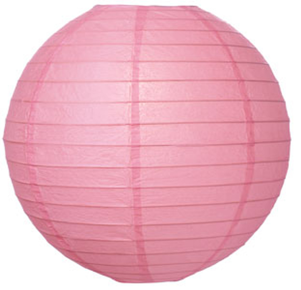 Parallel Ribbed Pink 8-Inch Round Paper Lantern