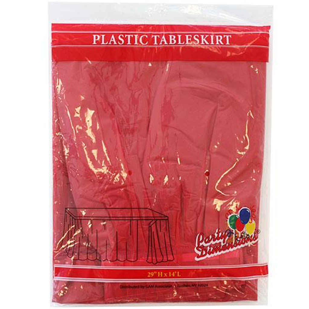 Plastic Table Skirts Red