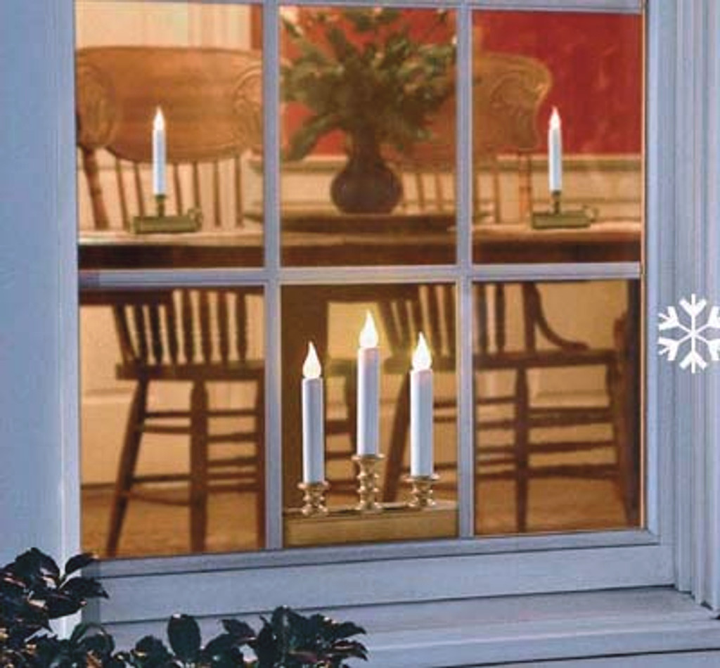Single Tier Holiday Window Candle Amber Flame Battery Operated - Antique Brass