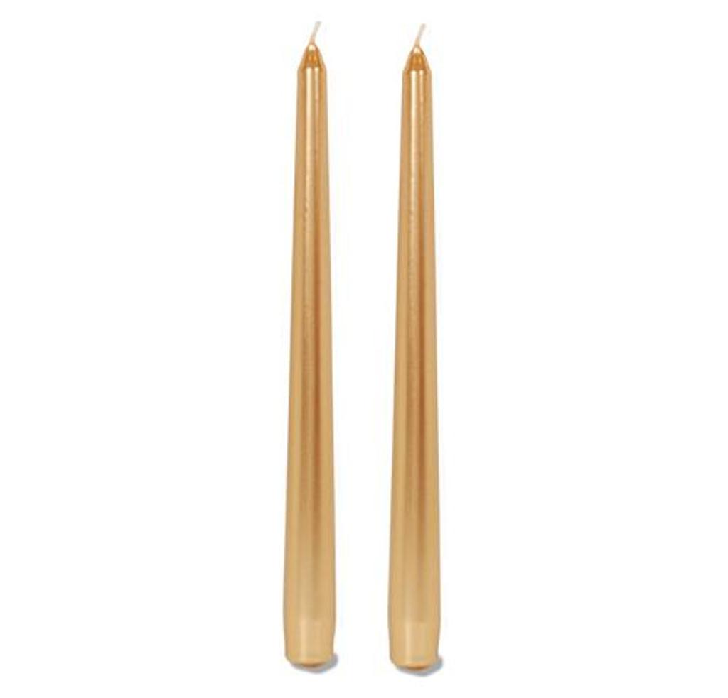 10 Inch Metallic Taper Candle Gold 2 pcs Pk