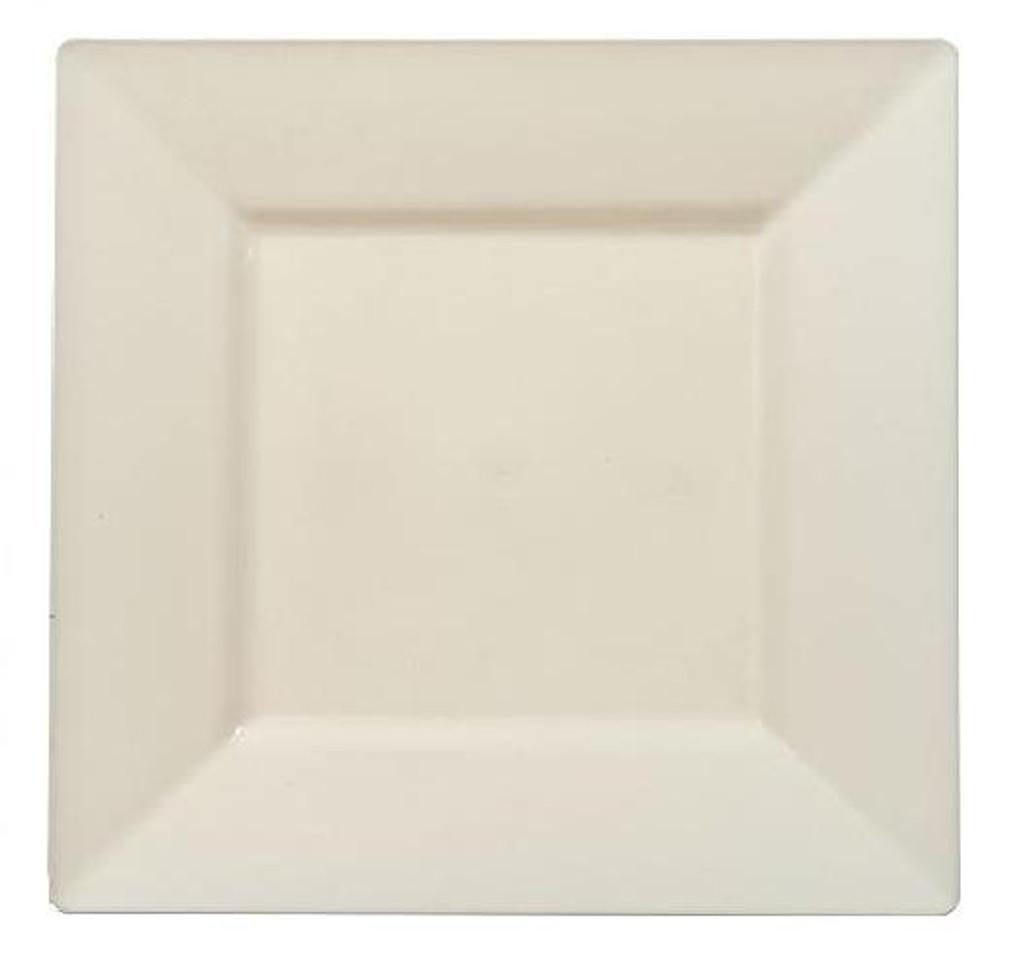 """Plastic Squares 10 3/4"""" Inch Cream Plates - 10 Ct."""