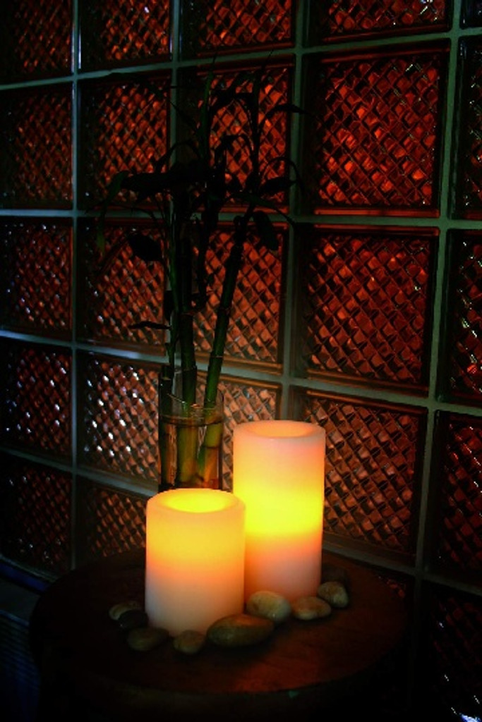 Round Flameless Real Wax Pillar Candles 4-Inch Champagne