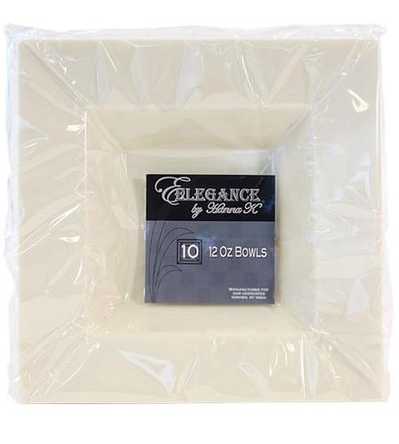 Plastic Squares 12 oz Bowl Cream - 10 Ct.
