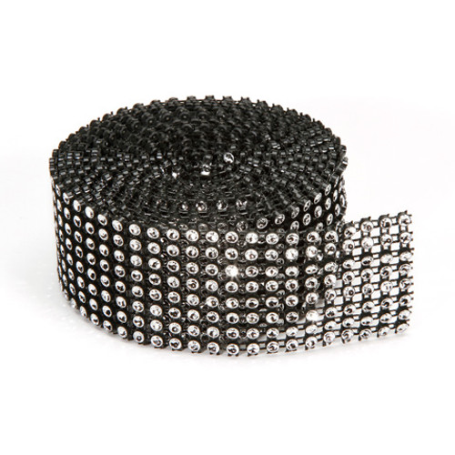 Black Silver Mesh Bling on a Roll - 3mm x 8 rows