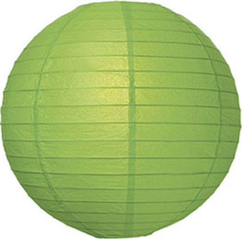 Parallel Ribbed Green 12-Inch Round Paper Lantern