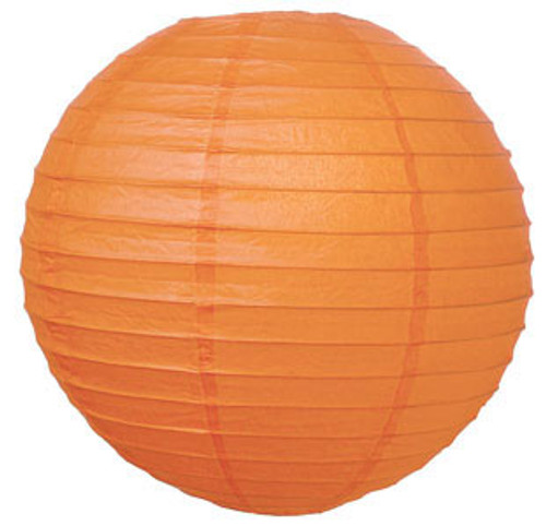 Parallel Ribbed Mango 8-Inch Round Paper Lantern