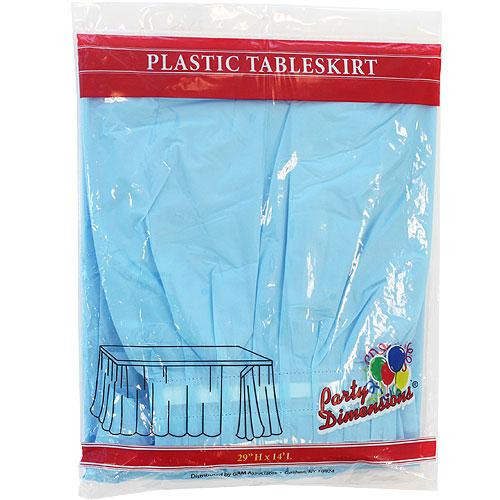 Plastic Table Skirts Light Blue