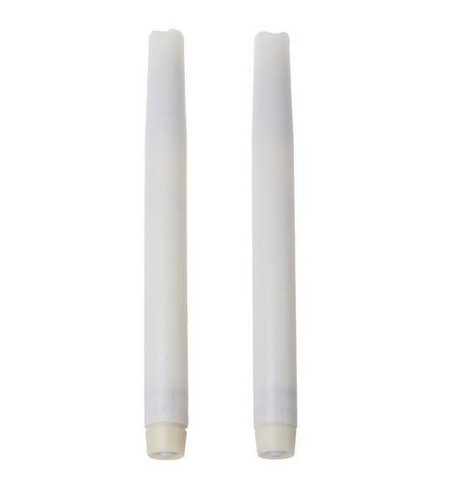 10.75 Inch LED Wax Taper Candles White - Pack of 2