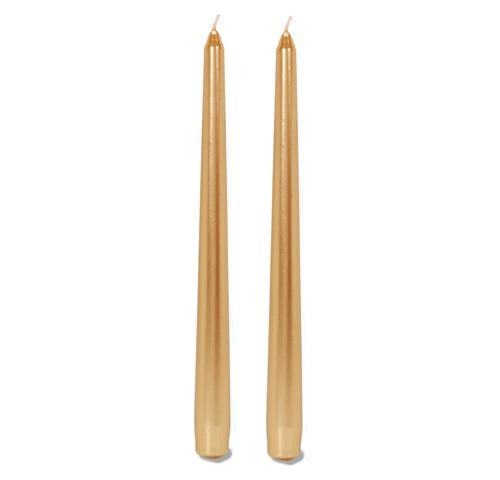 10 Inch Metallic Taper Candle Gold 2 pcs Pk