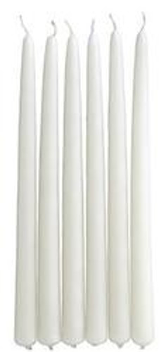 10 Inch Unscented White Wax Taper Candles - 10 Pk
