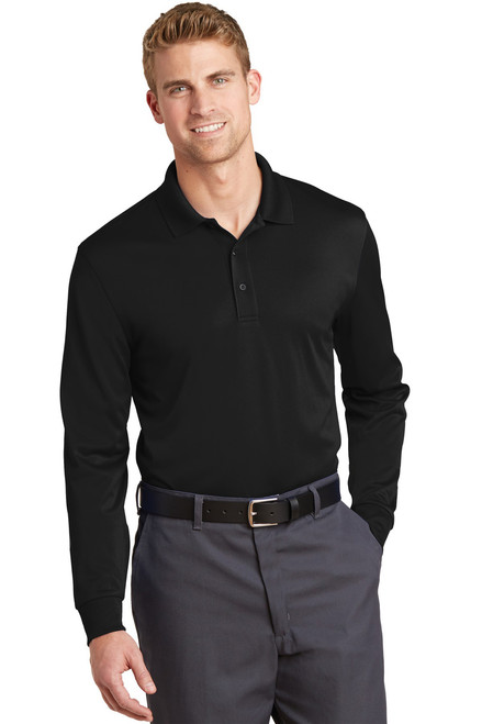 Cornerstone Select Long Sleeve Snag-Proof Polo - Black