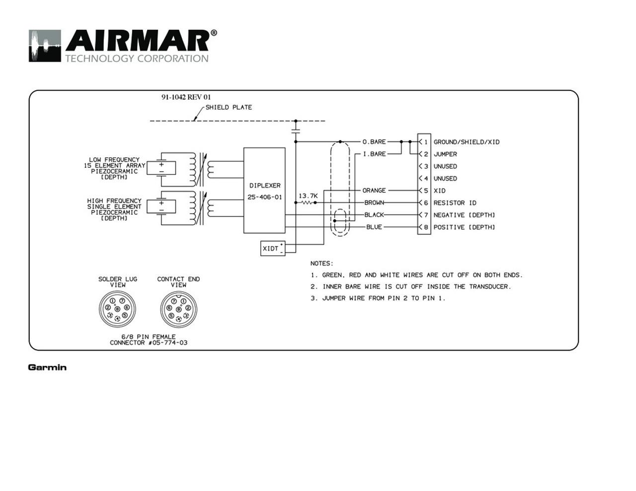 airmar wiring diagram garmin r199 8 pin (d, t) blue bottle marine 8