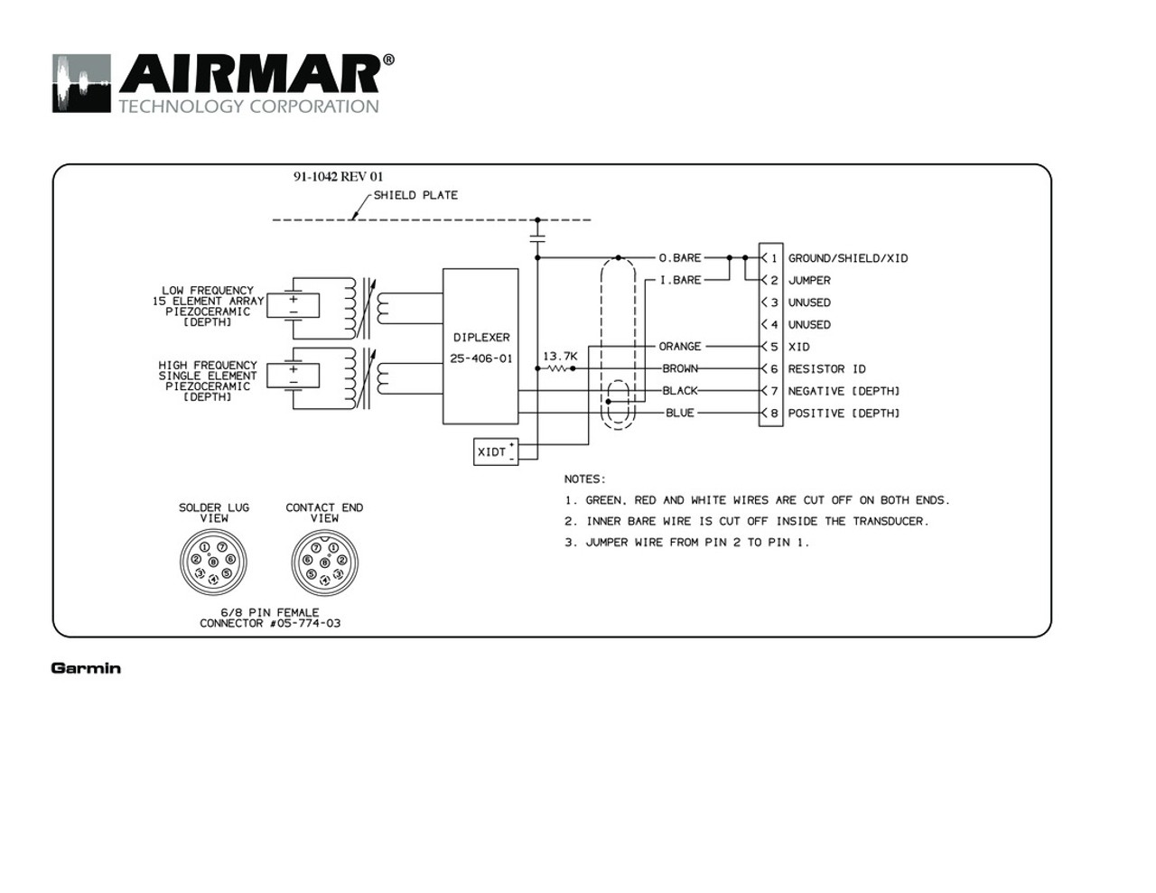 Garmin 7 Pin Wiring Diagram Library Pcie 8 Depth Only R199 Transducers With Connector 8g Airmar