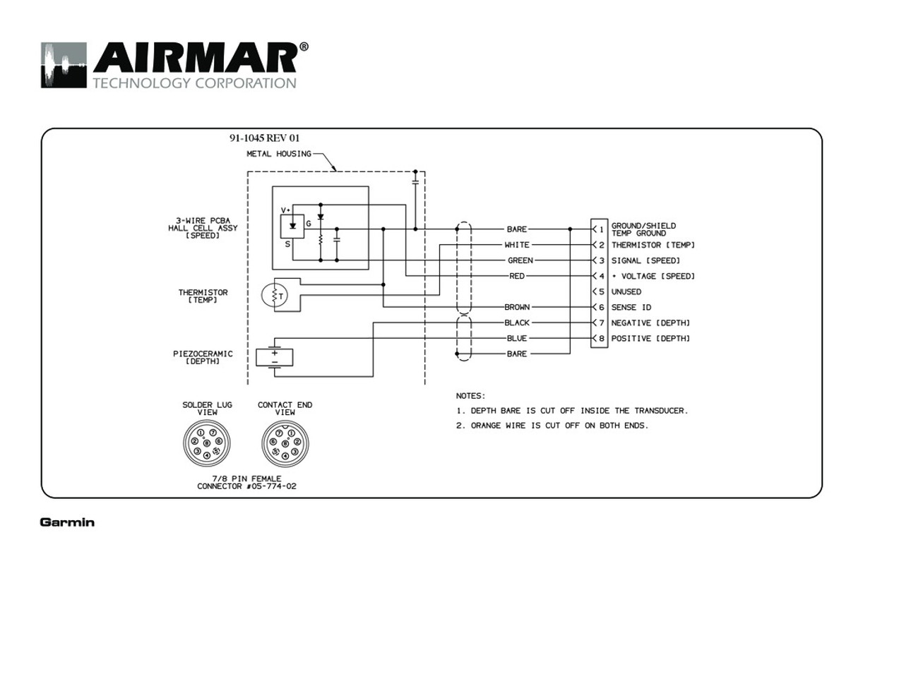 Airmar Wiring Diagram Garmin B744 8 Pin Dst Blue Bottle Marine Grade Switch Panel Diagrams Depth Speed Temperature B744v Vl 600w Transducers With Connector