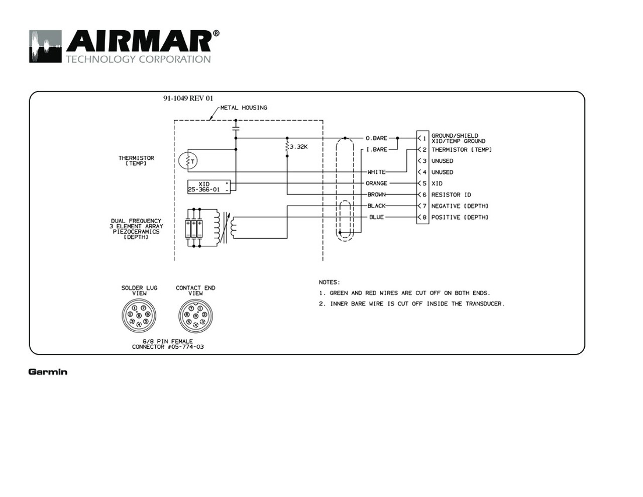 Airmar Wiring Diagram Garmin B164 8 Pin  D T