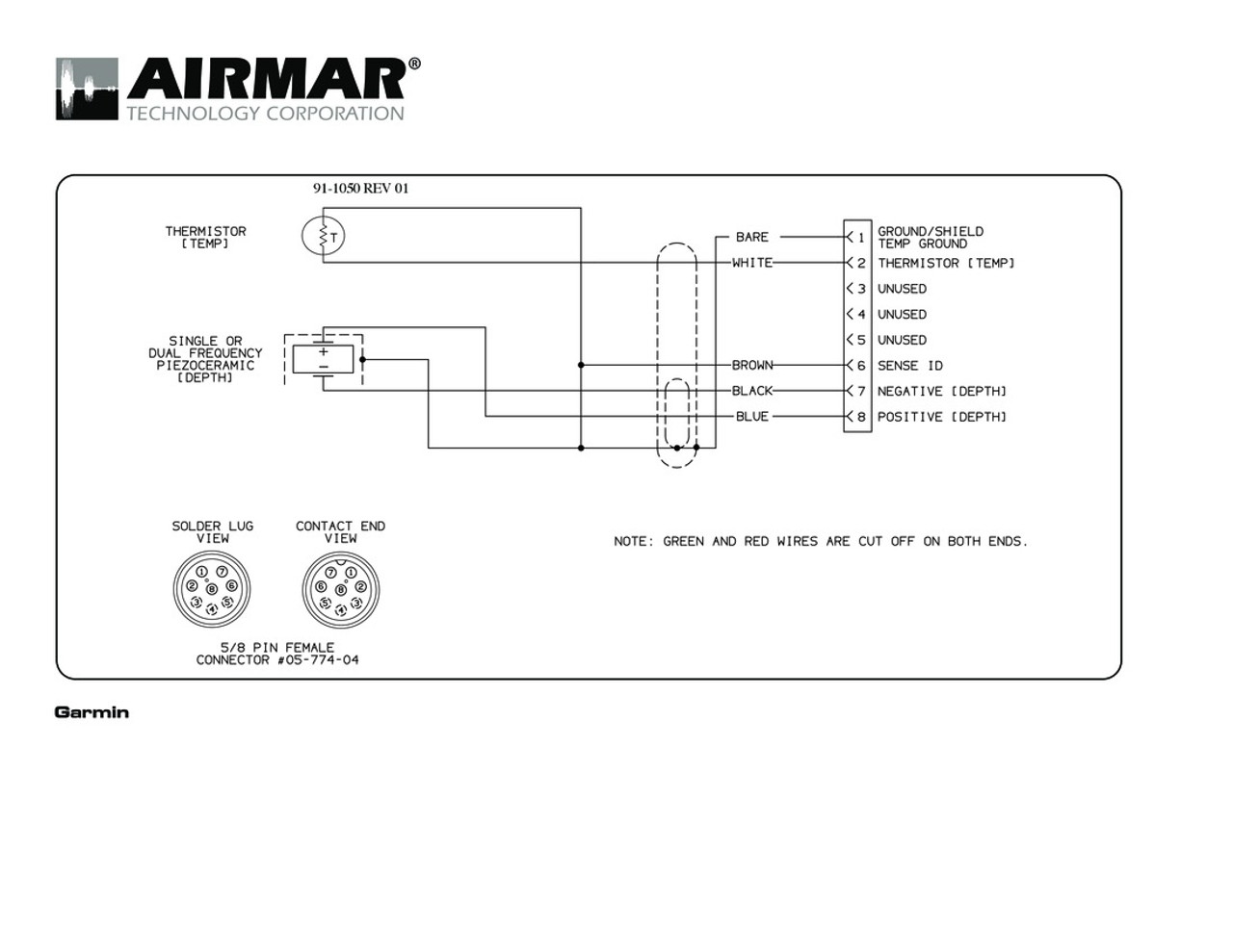 Airmar Wiring Diagram Garmin P319 8 Pin  D T